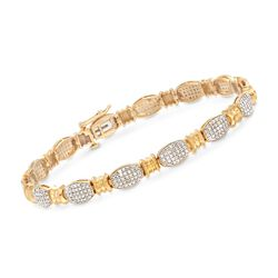 1.00 ct. t.w. Pave Diamond Bracelet in 14kt Yellow Gold Over Sterling, , default