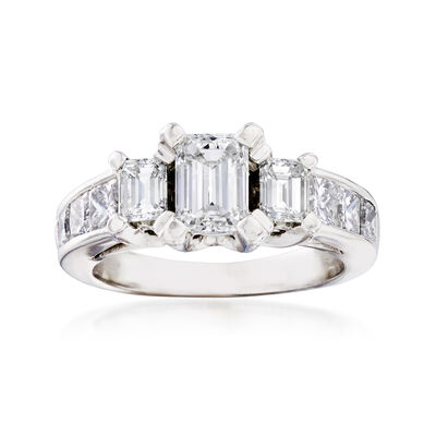 C. 2000 Vintage 1.70 ct. t.w. Diamond Three-Stone Ring in 14kt White Gold, , default