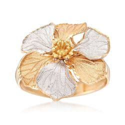 Italian 18kt Two-Tone Gold Flower Ring, , default