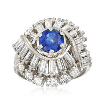 C. 1970 Vintage .95 Carat Sapphire and 2.25 Multi-Cut Diamond Ring in Platinum