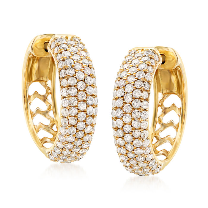 2.00 ct. t.w. Pave Diamond Hoop Earrings in 14kt Yellow Gold