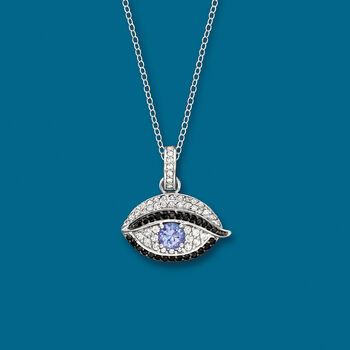 .40 Carat Tanzanite and .40 ct. t.w. White Zircon Evil Eye Pendant Necklace with Black Spinels in Sterling Silver, , default