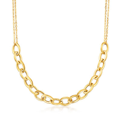 Italian 14kt Yellow Gold Large Cable Link Necklace, , default