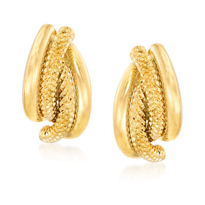 Italian Textured and Polished 18kt Yellow Gold Earrings