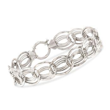 "14kt White Gold Interlocking Multi-Link Bracelet. 7.25"", , default"