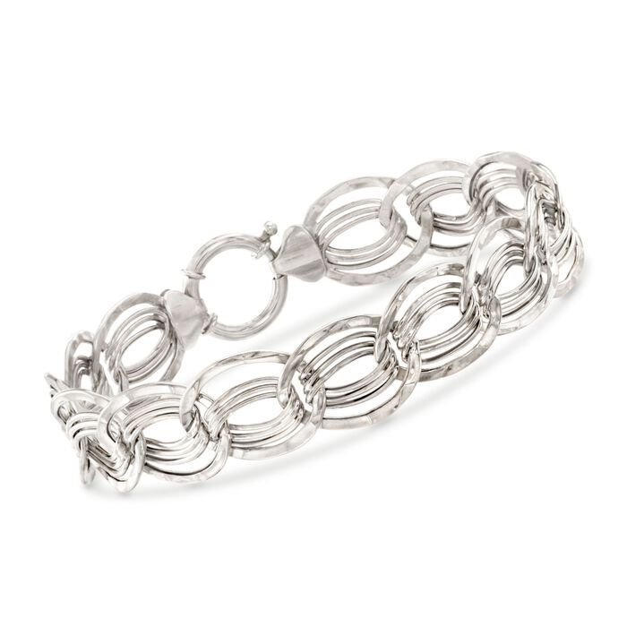 "14kt White Gold Interlocking Multi-Link Bracelet. 7.25"", , default"