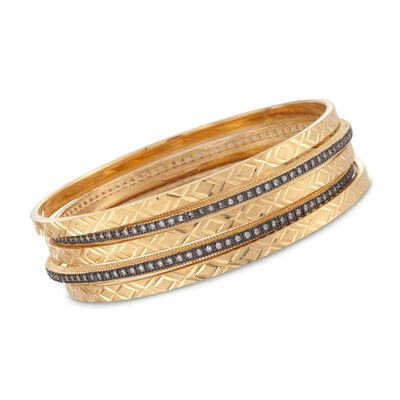 14kt and 18kt Gold Over Sterling Silver Jewelry Set: Five Bangle Bracelets with 2.00 ct. t.w. CZs, , default