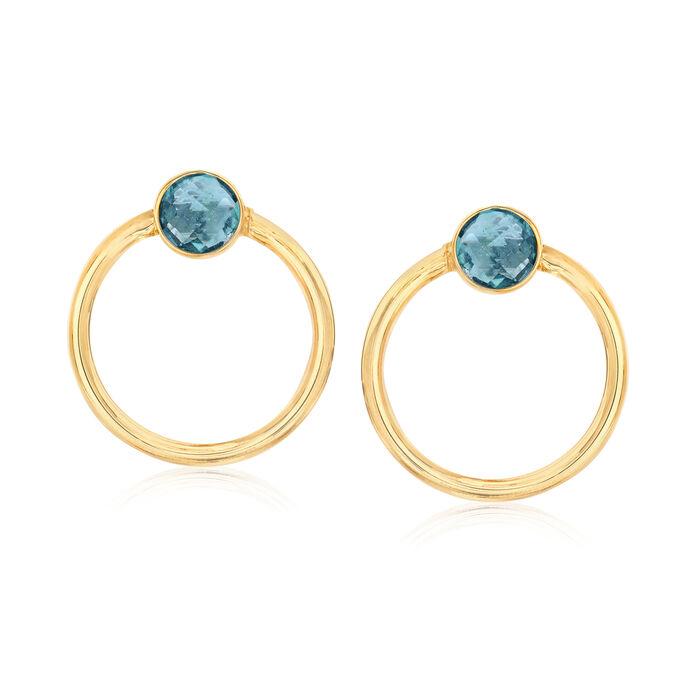Italian 1.50 ct. t.w. London Blue Topaz Open-Circle Earrings in 14kt Yellow Gold