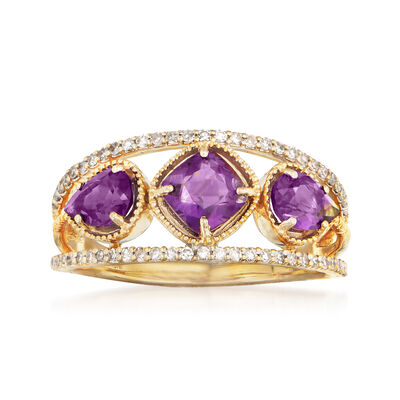 1.10 ct. t.w. Amethyst and .23 ct. t.w. Diamond Ring in 14kt Yellow Gold
