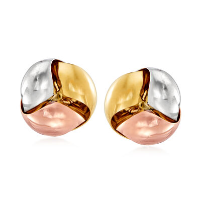 Italian 14kt Tri-Colored Gold Earrings