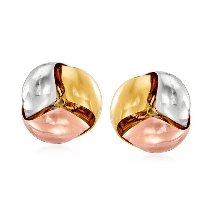 Italian 14kt Tri-Colored Gold Earrings