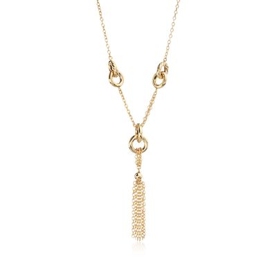 Italian 14kt Yellow Gold Circle-Link Station and Tassel Drop Necklace, , default