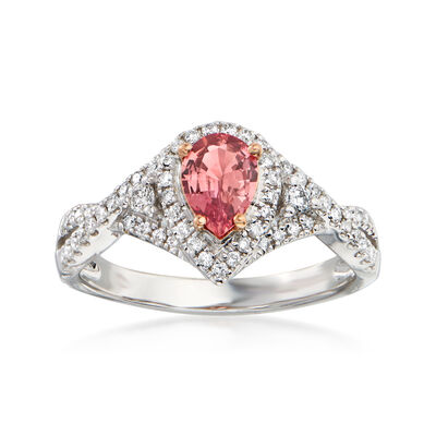 .60 Carat Pink Padparadscha Sapphire and .32 ct. t.w. Diamond Ring in 18kt Two-Tone Gold