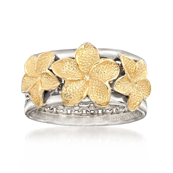Sterling Silver and 14kt Yellow Gold Floral Bismark-Link Ring. Size 9, , default