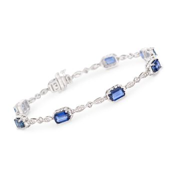 """5.00 ct. t.w. Sapphire Bracelet With Diamond Accent in 14kt White Gold. 7"""", , default"""