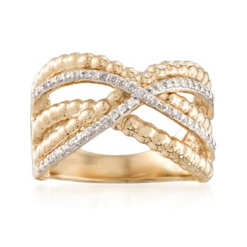 .24 ct. t.w. Diamond Crisscross Ring in 14kt Yellow Gold. Size 7, , default