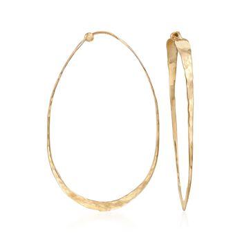 "14kt Yellow Gold Elongated Hammered Hoop Earrings. 1 7/8"", , default"