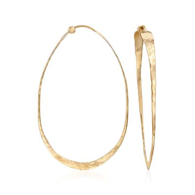 14kt Yellow Gold Elongated Hammered Hoop Earrings, , default