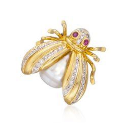 C. 1980 Vintage 12.5mm Cultured Pearl and .40 ct. t.w. Diamond Bug Pin With Rubies in 18kt Yellow Gold, , default