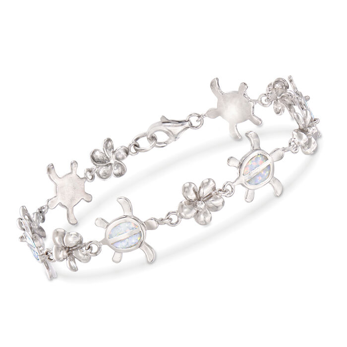 """Synthetic Opal Turtle and Flower Bracelet in Sterling Silver. 8"""", , default"""