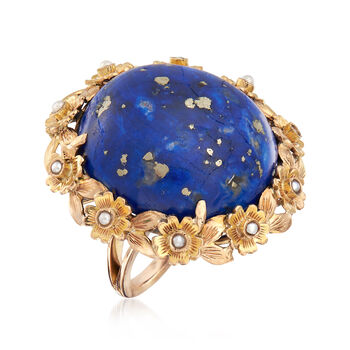 C. 1940 Vintage Lapis and Cultured Pearl Ring in 14kt Yellow Gold. Size 7, , default