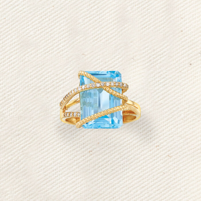 9.25 Carat Sky Blue Topaz and .15 ct. t.w. Diamond Crisscross Ring in 14kt Yellow Gold