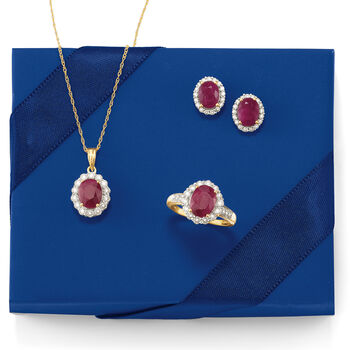 3.20 ct. t.w. Burmese Ruby and .51 ct. t.w. Diamond Earrings in 18kt Yellow Gold , , default