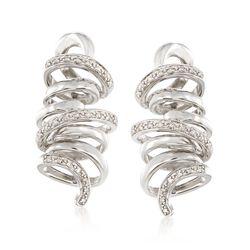 .13 ct. t.w. Diamond Ribbon Earrings   in Sterling Silver, , default