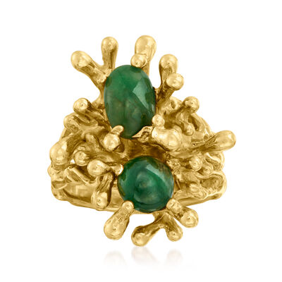 C. 1970 Vintage Jade Fashion Ring in 14kt Yellow Gold