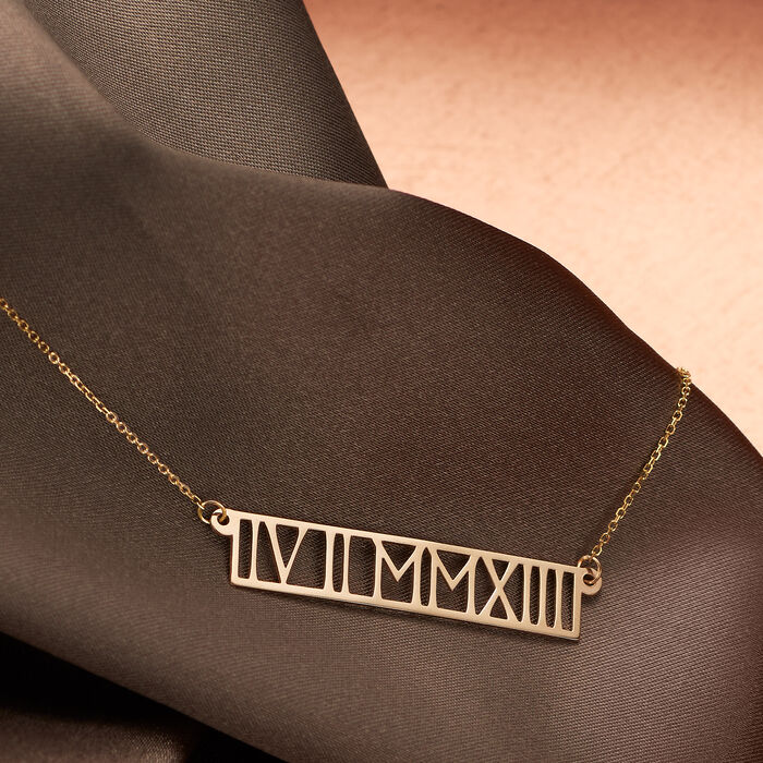 14kt Yellow Gold Horizontal Roman Numeral Necklace