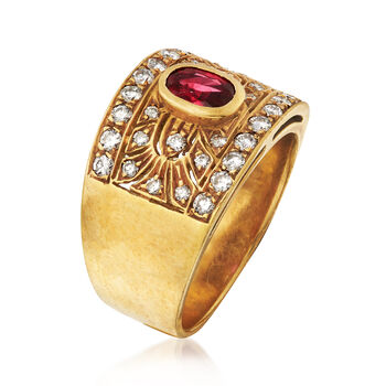 C. 1980 Vintage .50 Carat Ruby and .65 ct. t.w. Diamond Ring in 18kt Yellow Gold. Size 7.5, , default