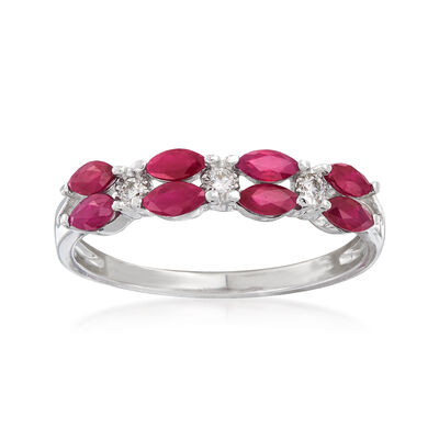 .80 ct. t.w. Ruby Ring with Diamond Accents in 14kt White Gold, , default
