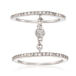 .55 ct. t.w. Diamond Open Double Band Ring in Sterling Silver, , default