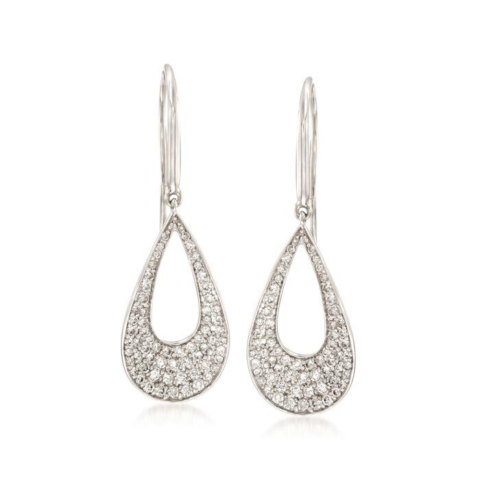Roberto Coin .70 ct. t.w. Diamond Open Teardrop Earrings in 18kt White Gold