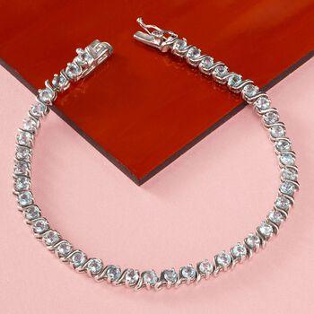 """4.40 ct. t.w. Blue Topaz Tennis Bracelet in Sterling Silver. 7.25"""", , default"""