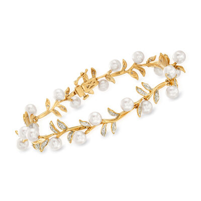 5mm Cultured Pearl and .25 ct. t.w. Diamond Leaf Bracelet in 14kt Yellow Gold, , default
