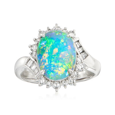 C. 1980 Vintage 2.94 Carat Black Opal and .37 ct. t.w. Diamond Ring in Platinum