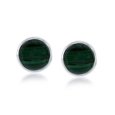 Bezel-Set Malachite Earrings in Sterling Silver, , default