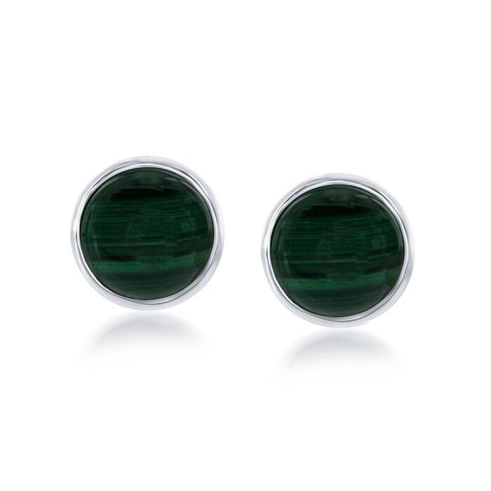 Bezel-Set Malachite Earrings in Sterling Silver