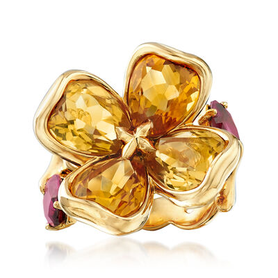 C. 2000 Vintage Chanel 7.00 ct. t.w. Citrine and 1.40 ct. t.w. Rhodolite Flower Ring in 18kt Yellow Gold, , default