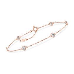 2.00 ct. t.w. CZ Station Bracelet in 14kt Rose Gold, , default