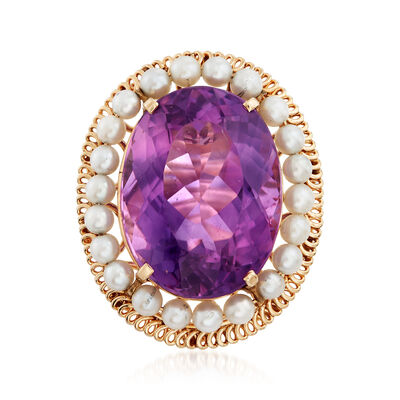 C. 1960 Vintage 3.5mm Cultured Pearl and 41.00 Carat Amethyst Ring in 14kt Yellow Gold, , default