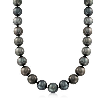 """13-15mm Black Cultured Tahitian Pearl Necklace With Diamonds and 14kt White Gold. 18"""", , default"""