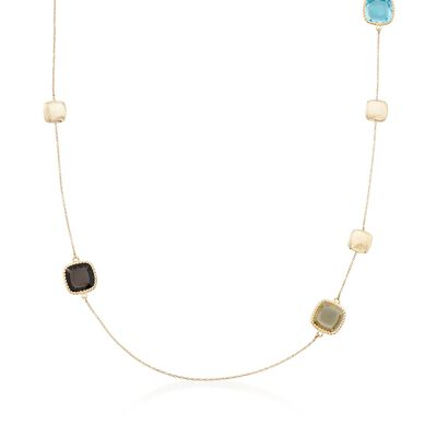 "Roberto Coin ""Ipanema"" 24.40 ct. t.w. Multi-Stone Station Necklace in 18kt Yellow Gold, , default"