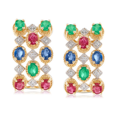 2.80 ct. t.w. Multi-Gem and .11 ct. t.w. Diamond Earrings in 14kt Yellow Gold, , default