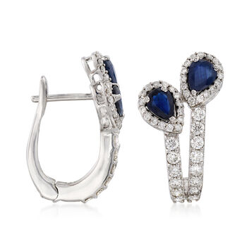 1.20 ct. t.w. Sapphire and 1.05 ct. t.w. Diamond Drop Earrings in 18kt White Gold