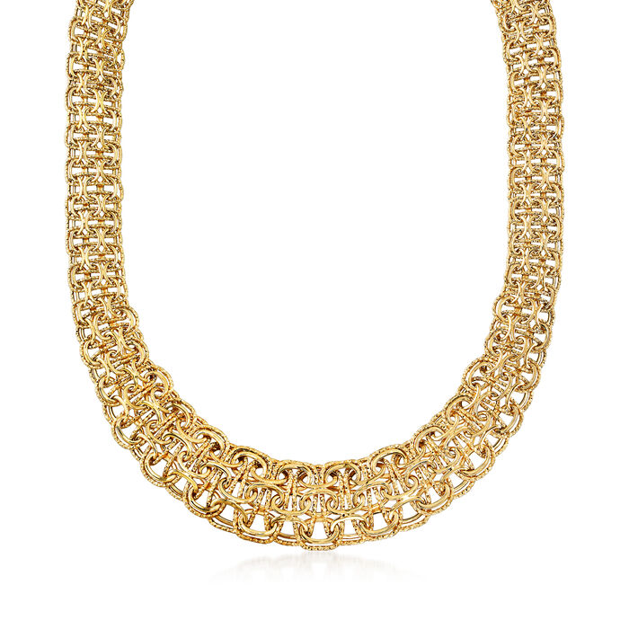 14kt Yellow Gold Large Domed Byzantine Necklace