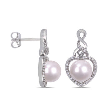 7-7.5mm Cultured Pearl Heart Drop Earrings with Diamond Accents in Sterling Silver, , default