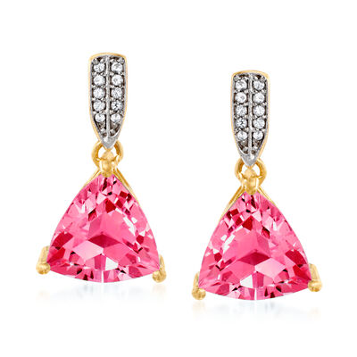 6.50 ct. t.w. Pink Topaz Drop Earrings with White Topaz Accents in 18kt Gold Over Sterling