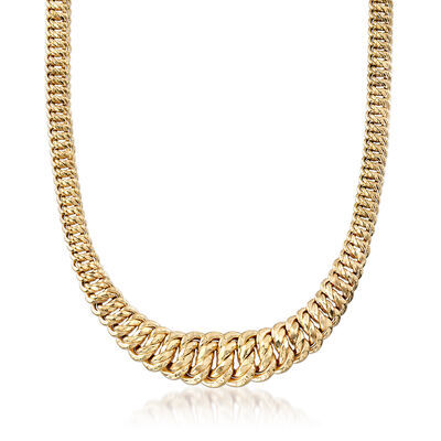 Italian Graduated Americana-Link Necklace in 14kt Yellow Gold, , default